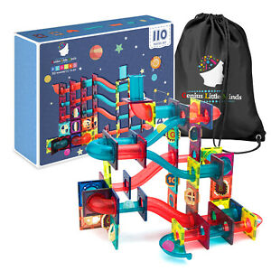 Magnetic Tiles Marble Run 110pc Toy Set | The Ultimate STEM Building Blocks