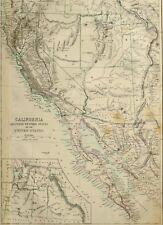 1865 ANTIQUE MAP CALIFORNIA WESTERN UNITED STATES UTAH ARIZONA SALT LAKE CITY
