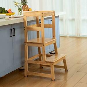 Wooden Kitchen Standing Tower For Toddlers, Safety Rail, Anti-slip, 46x 46x 90cm