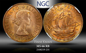 1966 GREAT BRITAIN 1/2 PENNY NGC MS 66 RB #A FINEST KNOWN