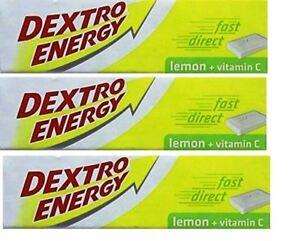 3x Dextro Energy Lemon + Vitamin C 14 Dextrose 47g Tablets