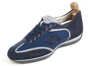 Hogan Sneakers Blue Suede Canvas Men Size US 9 EU 42