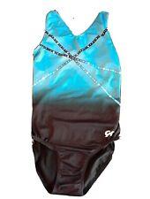 GK ELITE Gymnastics Leotard Adult Small AS Blue Black White Design USA Made EUC