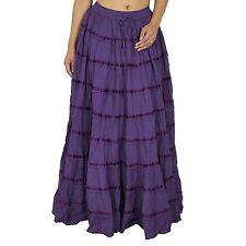 Indian Women Clothing Purple Beach Wear Long Cotton Skirt Maxi Boho Hippie Lace