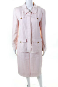 Chanel Boutique Womens Linen Pencil Skirt Suit Light Pink Size French 40