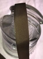 "10 yard 5/8"" wide vintage roll grosgrain seal brown ribbon doll dress rayon -217"