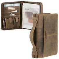 Greenburry Schreibmappe A4 Leder braun Vintage mit Tabletfach