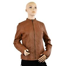Women Brown Genuine Leather Jacket Round neck Zip Up Style Quilted Shoulders