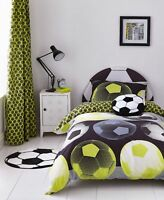 Catherine Lansfield Girl Boy Neon Football Duvet Cover Bedding Set Range Yellow
