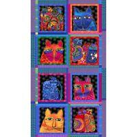 "LAUREL BURCH Feline Frolic Fabric ""Bright Panel"" 24x 44 Panel Cats Cotton Fabric"