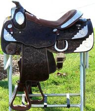 "16"" Showman WESTERN horse SADDLE SHOW Full silver Tooled Dbl T Dark Oil-Last 1"