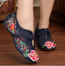 Womens Canvas Embroidery Pumps Breathable Shoes Floral Low Heel Sneakers US 8