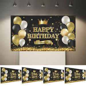 11Styles 18th 30th Balloons Birthday flag Happy Birthday Backdrop Party Decor