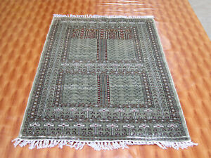 3x5 Silk Gray Color Bedroom Floor Mat Indian Hand Knotted Carpet Geometric Rugs