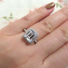 2.50 Ct Diamond Engagement Rings Solid 14K White Gold Emerald Cut Ring Size P