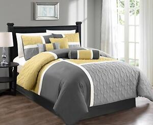 Gray Grey Yellow Patchwork Block 7 pc Comforter Set Full Queen Cal King Bedding