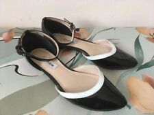 Dune Black White Patent Two Part Flats Shoes Size 5