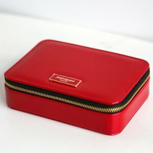 YSL Beauty Red Faux Patent Leather Makeup Cosmetic Case / Bag / Box with Mirror