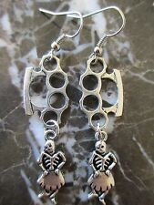 Gothic Emo Silver Brass Knuckles & Girly Sugar Skull Day of the Dead Earrings