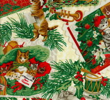 Hoffman Punch Studio Christmas Kitties J9240-33 Cream w/Gold Metallic BTY