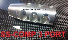 Muzzle Brake Stainless Steel 1/2x28 Thread 3 Port 223 Competition w/Free SSWashr