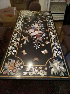 8'x4' Black Marble Dining Table Top Inlay Mosaic Floral Farm House Decors B795B