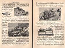 GOLDGEWINNUNG Goldwaschen Schmelzofen Goldgräber Holzstiche 1894 und Text