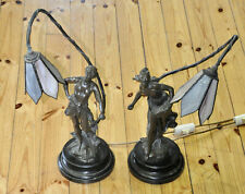 Vintage Bronze Sower and Reaper Sculptures / Table Lamps by Auguste Moreu.