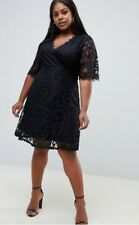 Yumi - Plus Lace Black Dress With Wrap Front & Kimano Sleeves Uk 18