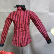 FASHION ROYALTY HOMME RED AND BLACK STRIPES LONG SLEEVE SHIRT BY INTEGRITY NEW