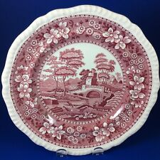 "Copeland Spode's Tower Pink / Red 9.5"" Luncheon Plate - Older Backstamp"
