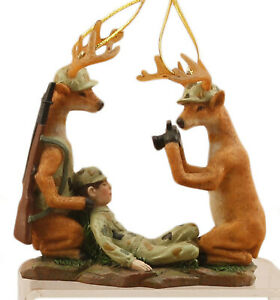 Two Deer Hunters Taking Pics of Man Funny Christmas Holiday Ornaments