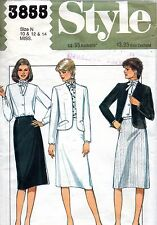 1980s Style Sewing Pattern 3855 Lined Jacket Skirt Blouse Size 10-12