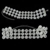 Choker Crystal Diamante Rhinestone Necklace Wedding lady Party Silver Chain Q8U3