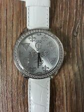 Guess W75028L4 Women's Silver Tone White Leather Croc Embossed Band LOGO Watch