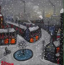 Original BEST Oil Painting Famous Artist James Downie : Snow at the Roundabout