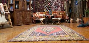 "Rare Antique Cr1930-1939s Multi-Colored Wool Pile Tribal Bohemian Rug 4'3""×6'10"""