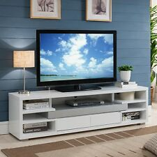 """White TV Entertainment Center Modern Stand Contemporary Cabinet Console 70"""" New"""