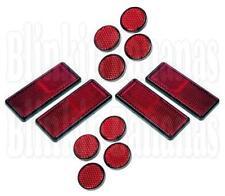 12 RED RECTANGULAR ROUND SELF ADHESIVE STICK ON REFLECTORS TRAILER MOTORBIKE 27A