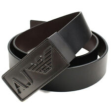 Armani Jeans Mens Black AJ Metal Buckle Leather Belt One Size