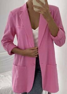 SHEIN Lipstick Pink Pocket Front Crinkle Feel Boyfriend Blazer Jacket! Size 14!