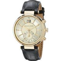 Michael Kors Women's Sawyer Gold Tone Black Leather Watch 39mm MK2433