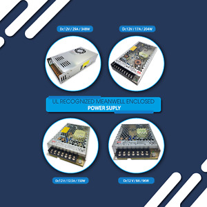 Enclosed Switching Power Supply, 12-24V 102-350W 4.5-29A, UL Recognized (UR)