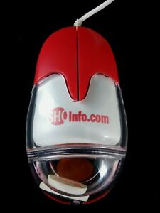 Aqua Mouse Model # AM-940-P Showtime Advertizing Red White & Clear PS/2 Mouse