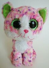 "Ty Beanie Boo Boos Sophie the Pink Speckled Kitten Cat 6"" Sparkle Eye 2015 NHT"