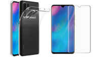 Coque Transparent / Film Vitre Verre Trempé Bord Incurvé Pour Huawei P30 PRO