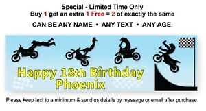 Party Banner Sign For Childs Birthday - DIRT BIKE- Blue Black Personalised Theme
