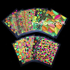24 Sheets Nail Art Stickers Neon Color  Decals Beauty Glitter Foil 3D DIY