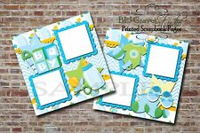 Baby Boy Shower Blue Green 2 PRINTED Premade Scrapbook Pages BLJgraves 42