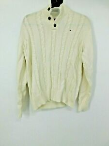 Tommy Hilfiger Cable Knit Sweater Classic  Boys Large 100% Cotton Ivory